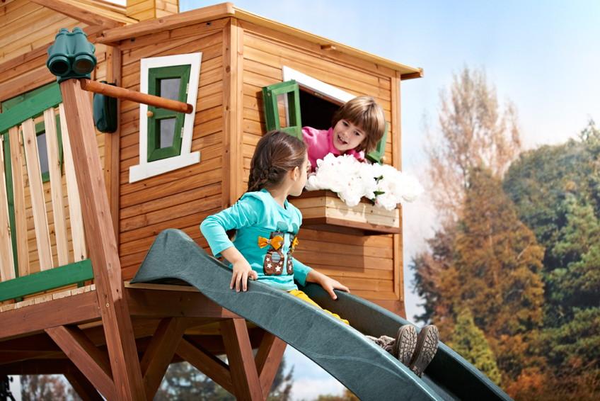 kinder-holz-spielhaus axi «max» comic kinderspielhaus auf stelzen,