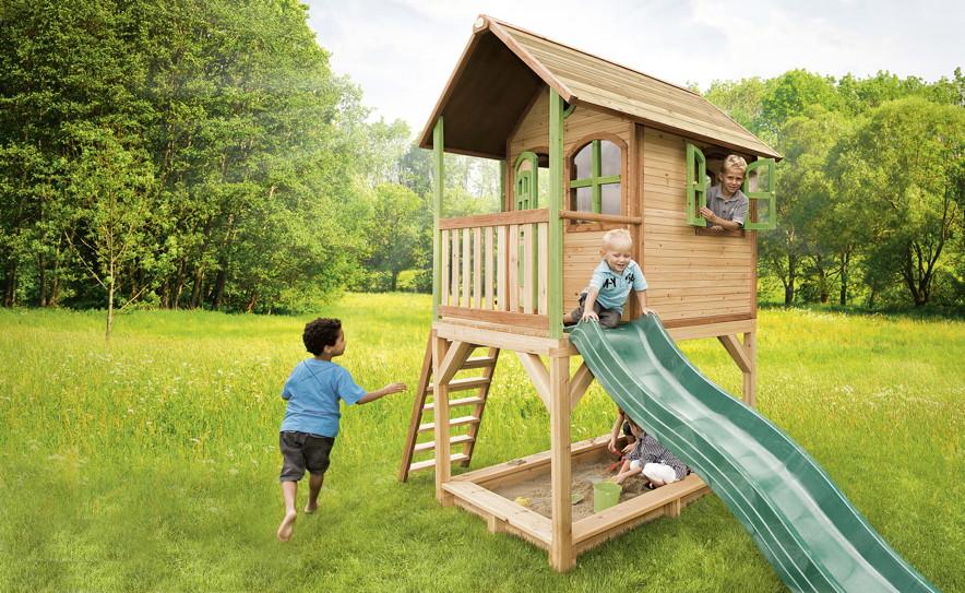 kinder-spielhaus axi «sarah» kinderspielhaus holz stelzen, rutsche,