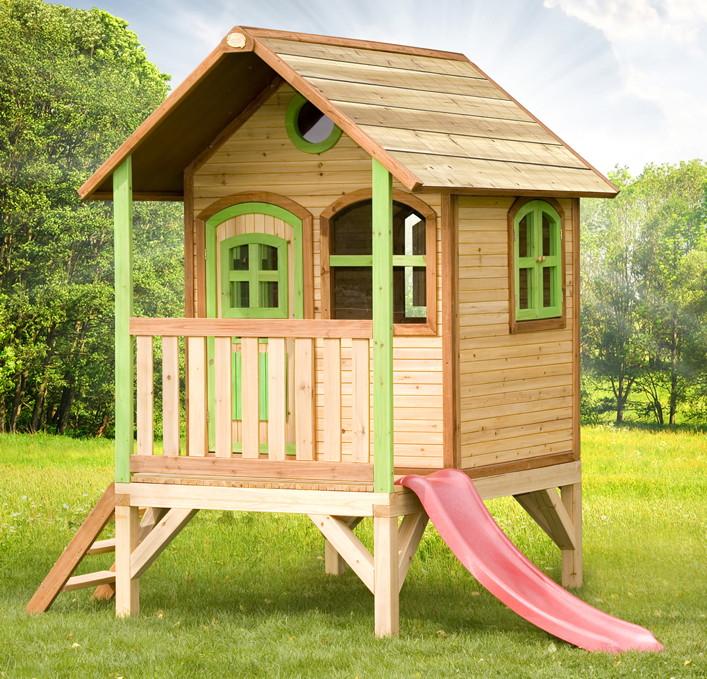 Kinder Holz Spielhaus Flach Stelzenspielhaus Farbig Lasiert Veranda