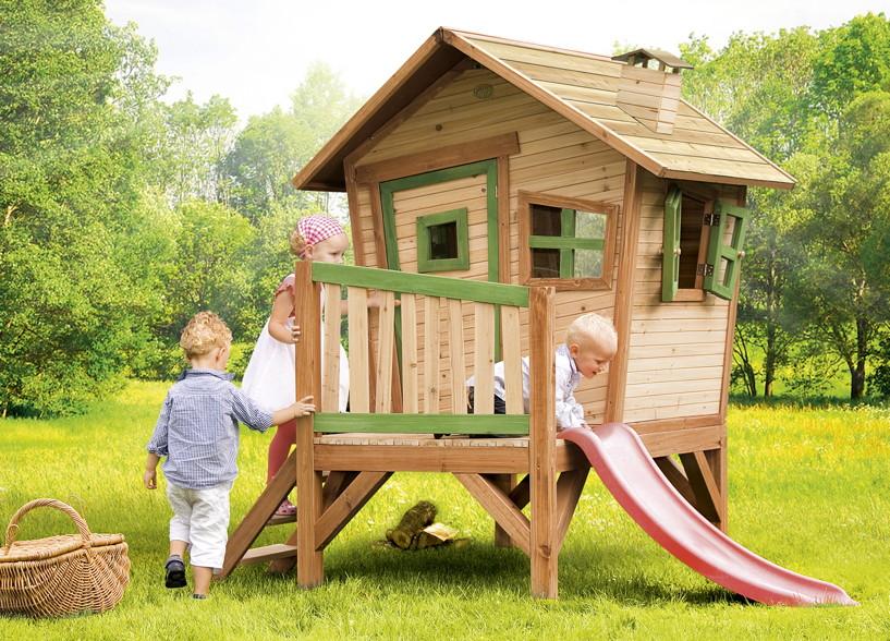 39cf006687 Holz-Kinder-Spielhaus Krummy klein Gartenhaus Comic Stelzenhaus Rutsche  Garten | vom Spielhäuser-Fachhändler