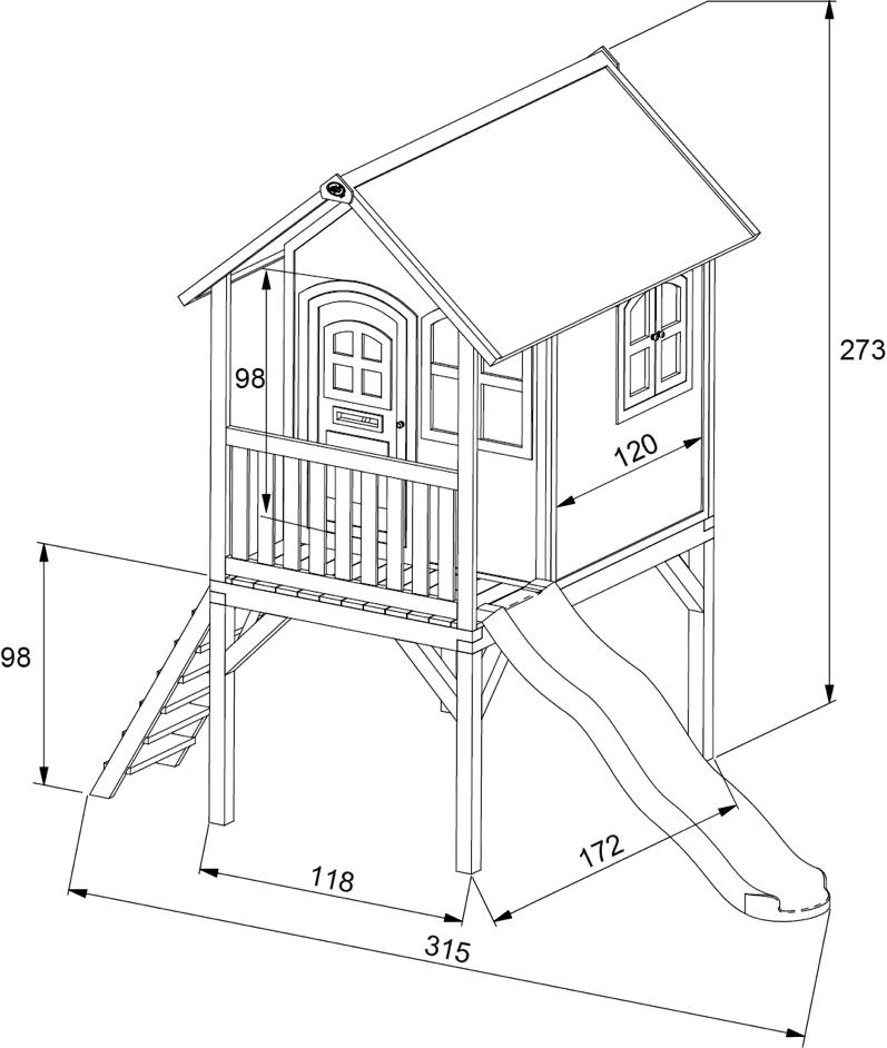 kinder spielhaus hohes holz stelzen spielhaus stelzen. Black Bedroom Furniture Sets. Home Design Ideas