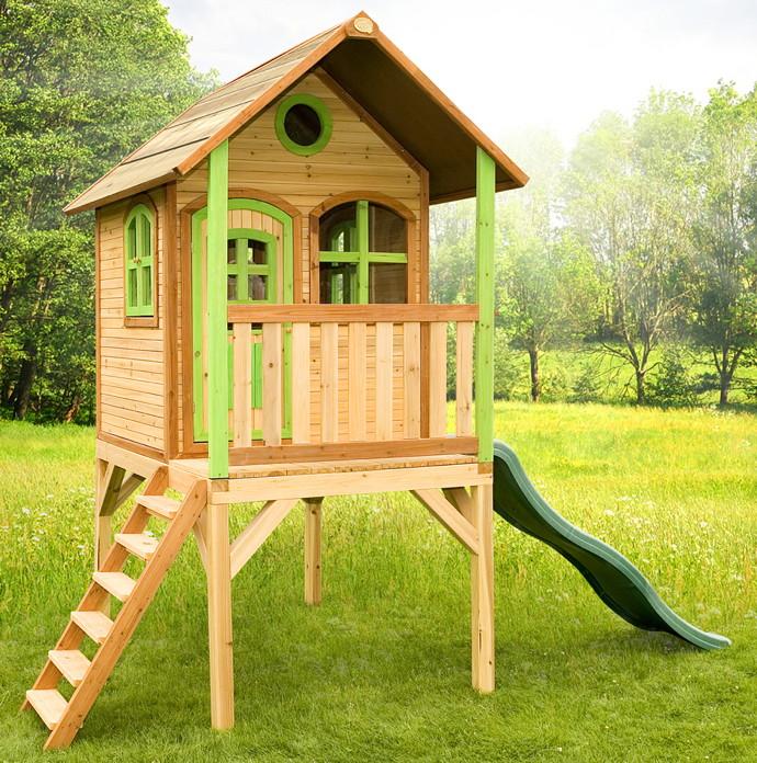 Fabulous Kinder-Spielhaus hohes Holz-Stelzen-Spielhaus Stelzen Rutsche PX58