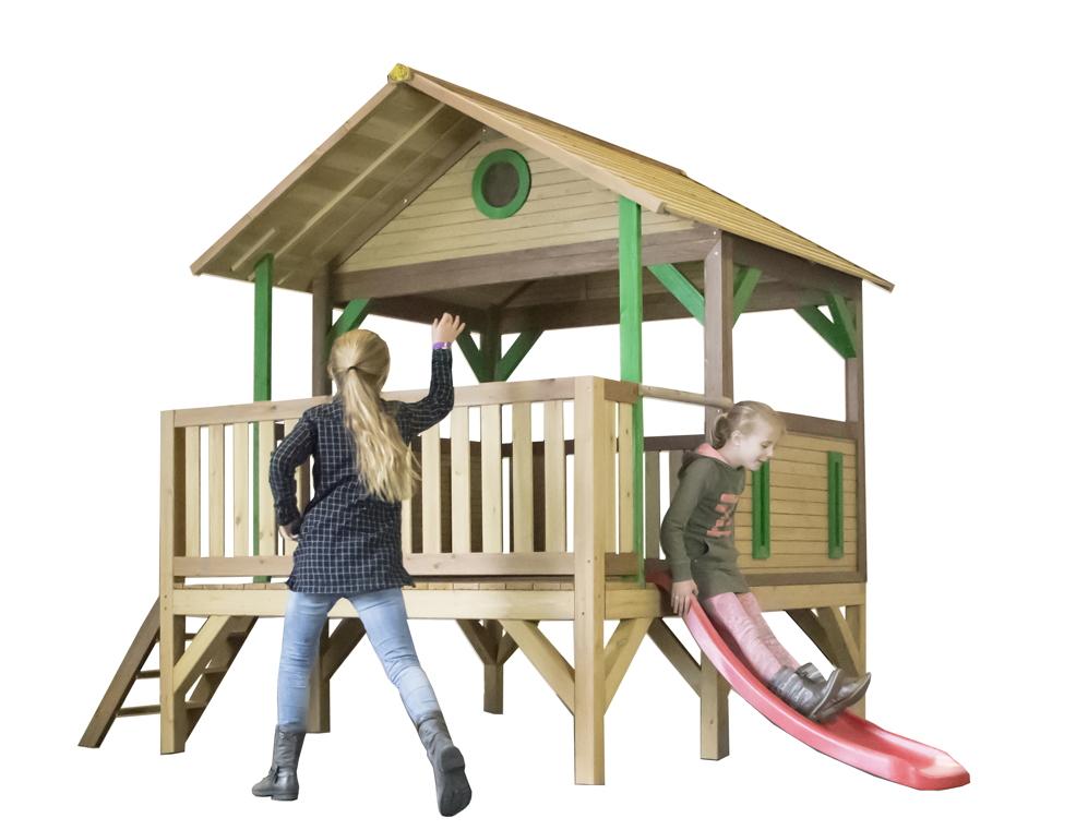 holz kinder spielturm flach offen stelzen spielhaus rutsche vorgestrichen vom spielh user. Black Bedroom Furniture Sets. Home Design Ideas