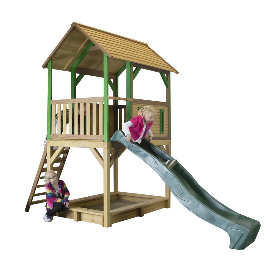 Fabulous Kinder-Spielturm Holz hohes & offenes Stelzen-Spielhaus Rutsche ZC46