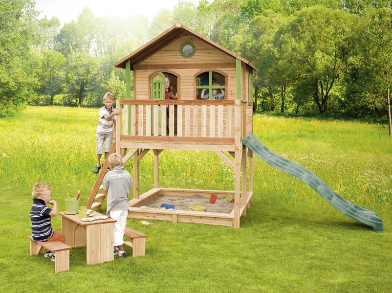 9f19aae91b Holz-Kinderspielhaus auf Stelzen Sandkasten Garten INKLUSIVE ...