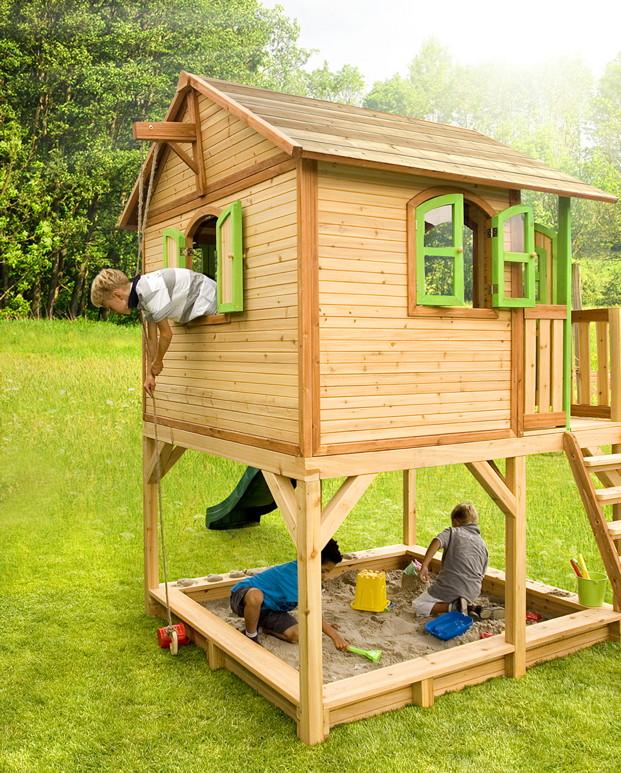 kinder holz-spielhaus axi «marc» kinderspielhaus auf stelzen,