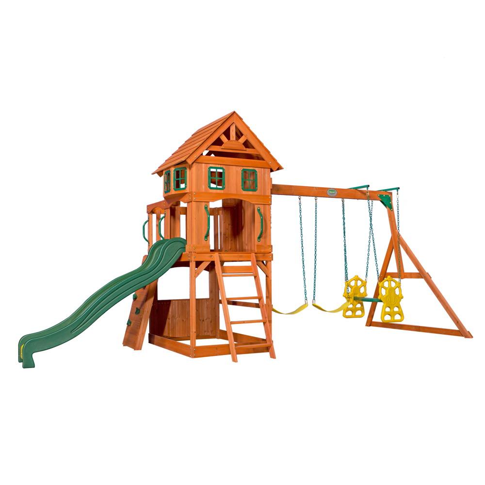 Top Kinder-Spielturm «Atlantic Tower» Stelzenhaus 3-fach Schaukel VO88