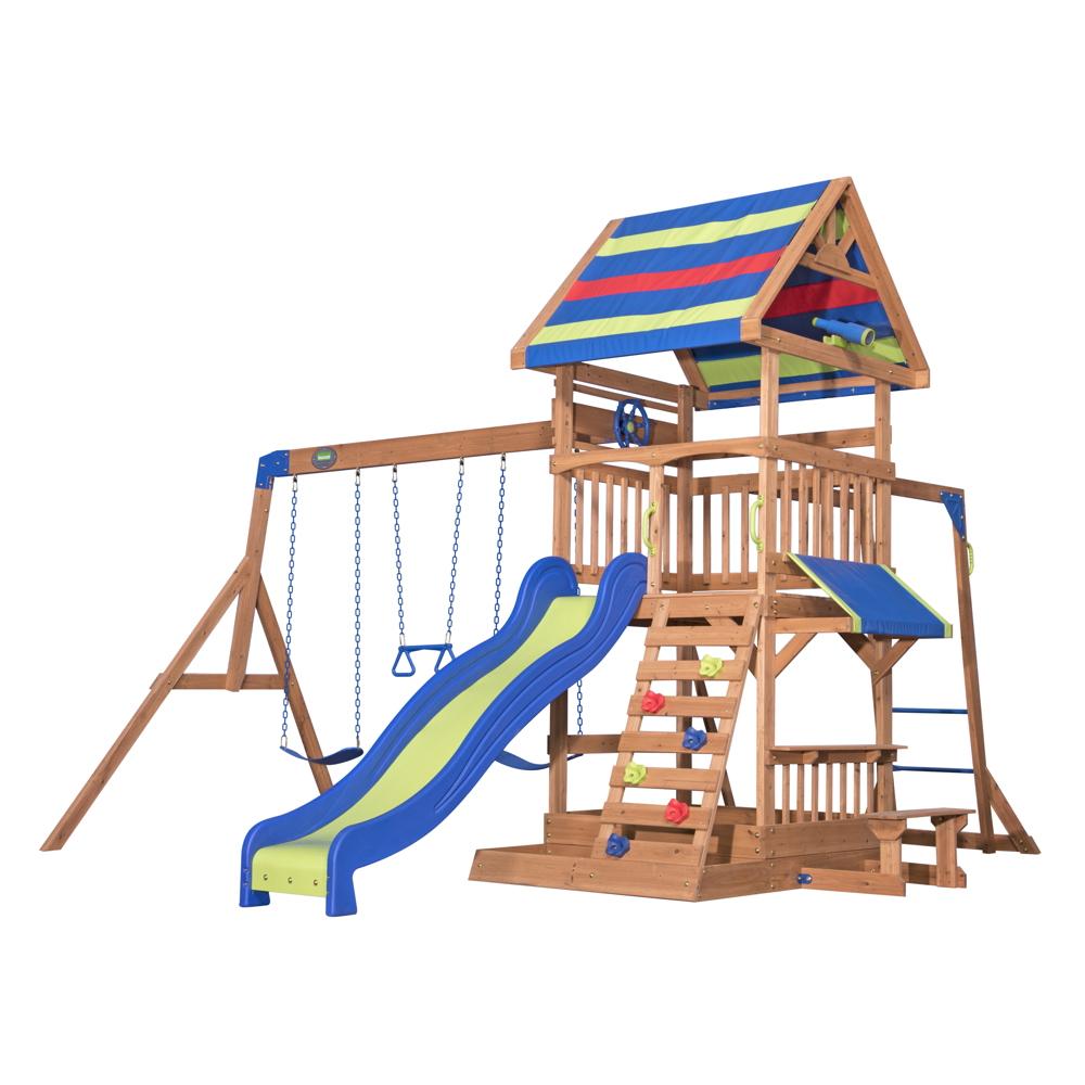 Hervorragend Kinder-Spielturm «Northbrook» Stelzenhaus 3-fach Schaukel Holzturm QW43