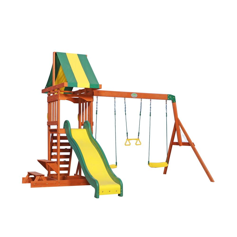 Extrem Kinder-Spielturm «Sunnydale» Stelzenhaus 3-fach Schaukel Holzturm IG36