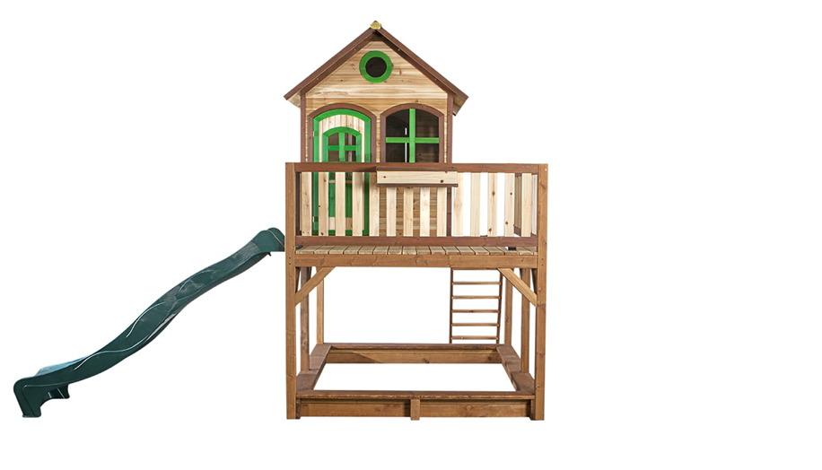 6e433fd2ac Stelzen-Holz-Spielhaus großes hohes Podest Terrasse Rutsche Sandkasten  lasiert