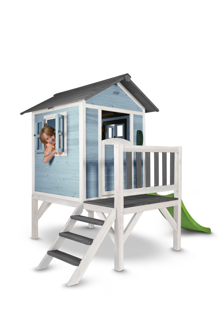Kinder Spielhaus Beachstyle Lodge Xl Blau Stelzenhaus Holz Rutsche