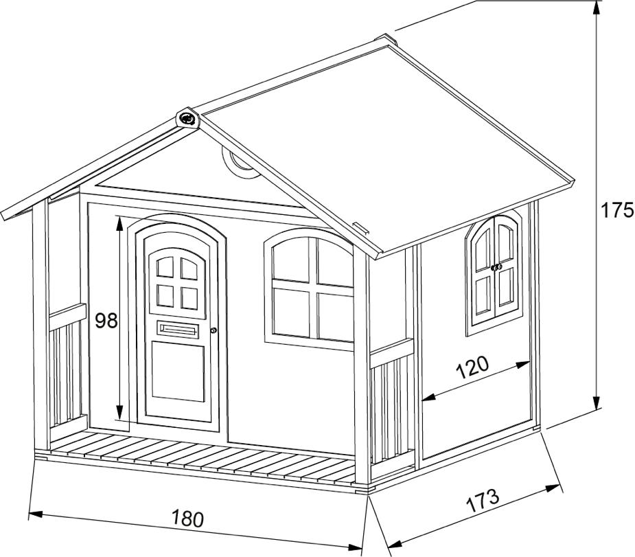 kinder holz spielhaus classic 170cm breit kinderspielhaus veranda terrasse vom spielh user. Black Bedroom Furniture Sets. Home Design Ideas