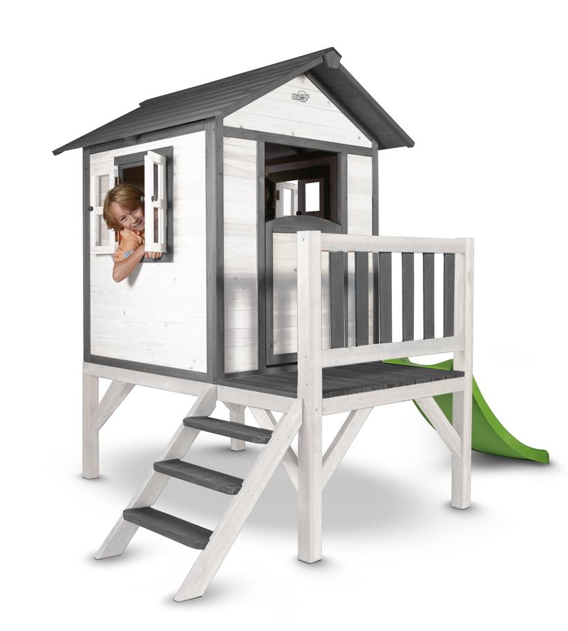 kinder spielhaus sunny lodge xl wei grau stelzenhaus. Black Bedroom Furniture Sets. Home Design Ideas